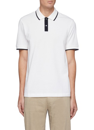 Main View - Click To Enlarge - THEORY - Contrast stripe pima pique polo shirt
