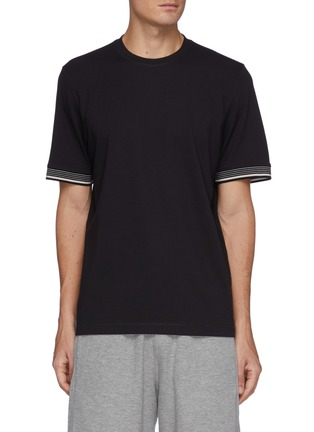 Main View - Click To Enlarge - THEORY - Stripe Trim T-shirt