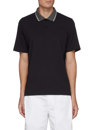 Main View - Click To Enlarge - THEORY - Stripe collar relay jersey fowler polo shirt