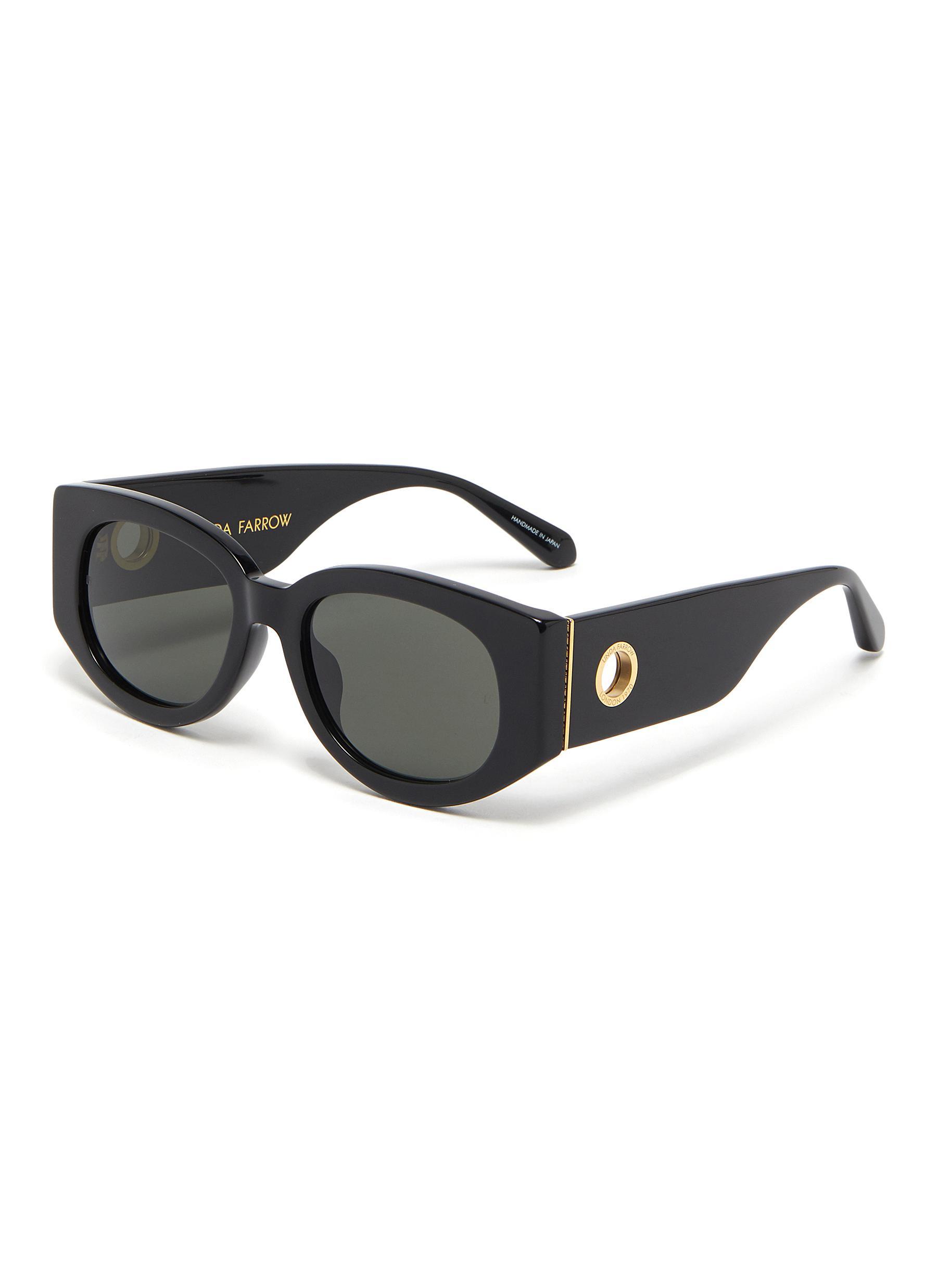 'Debbie' Wide Temple Oversized Acetate D Frame Sunglasses
