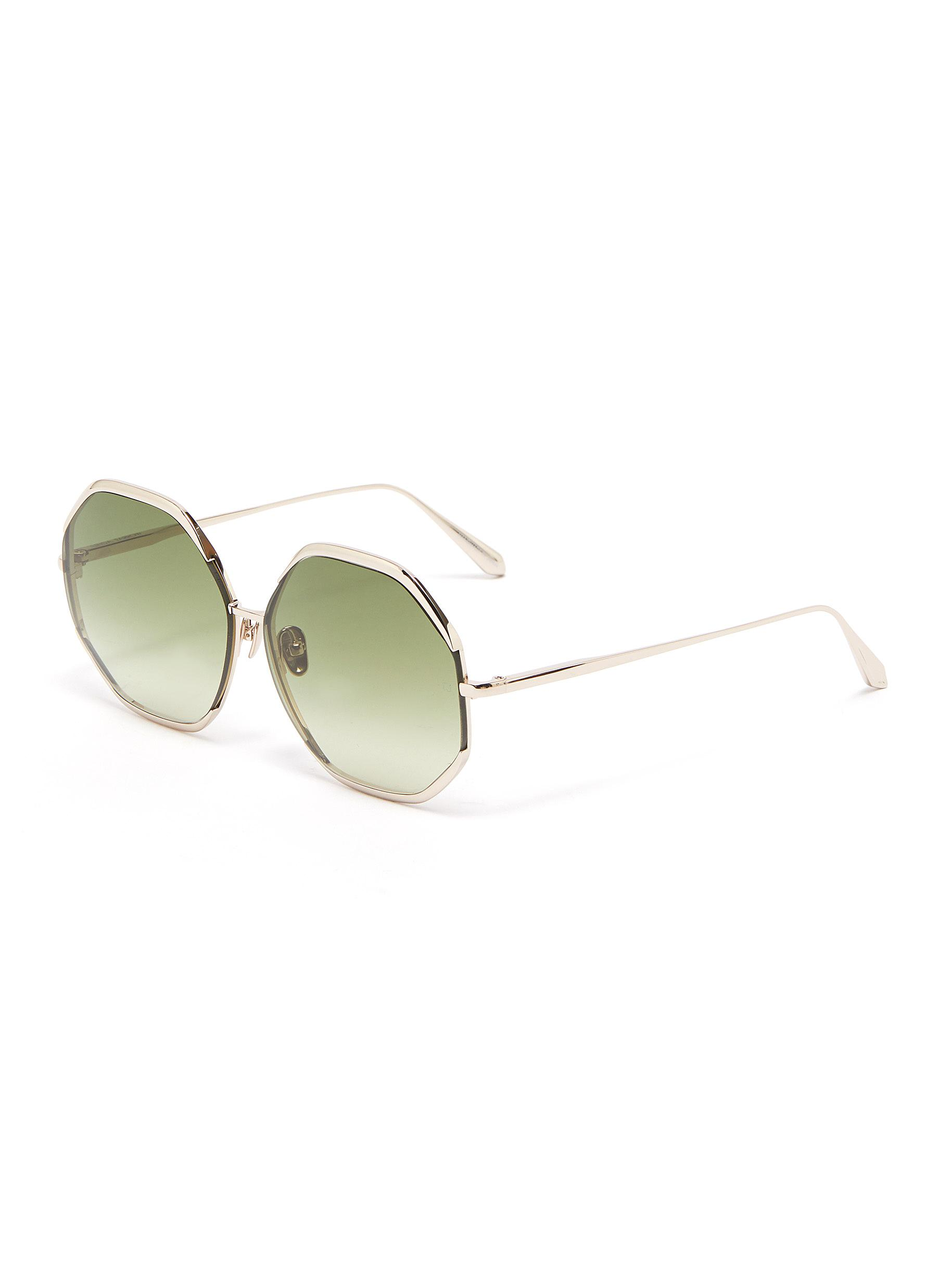 Camila' Metal Hexagonal Frame Sunglasses - LINDA FARROW VINTAGE - Modalova