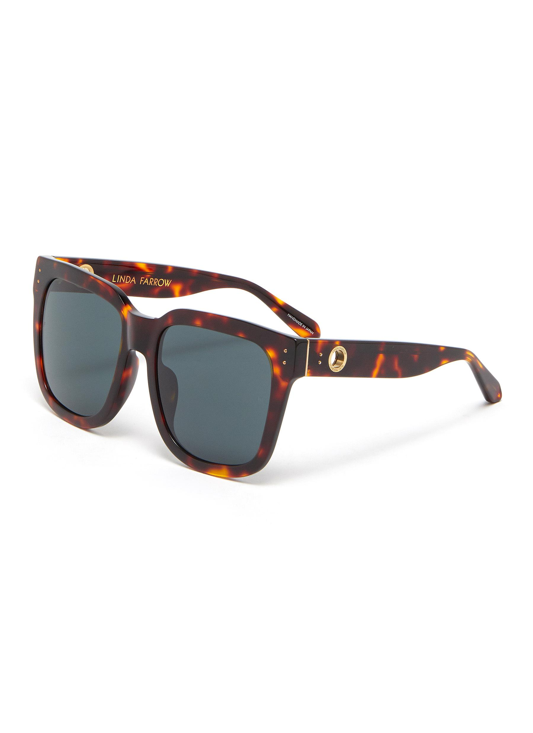 'Freya' Oversized Tortoiseshell Effect Acetate Square Frame Sunglasses