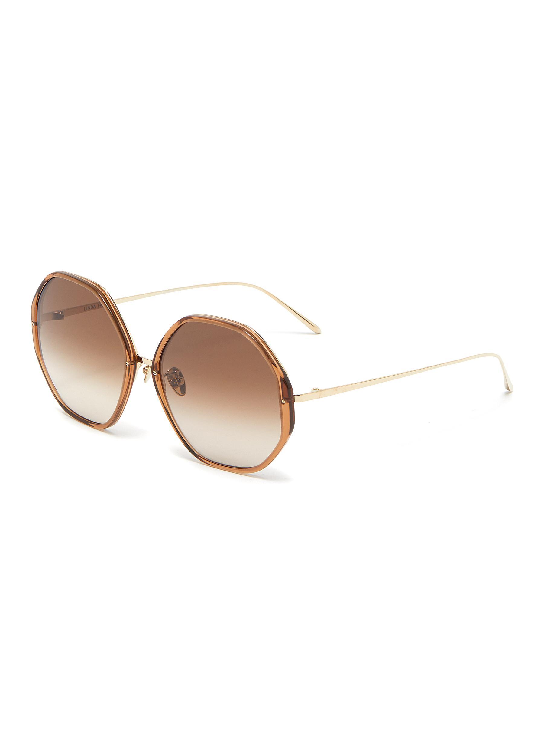 'Alona' Oversized Duo-tonal Hexagonal Frame Sunglasses