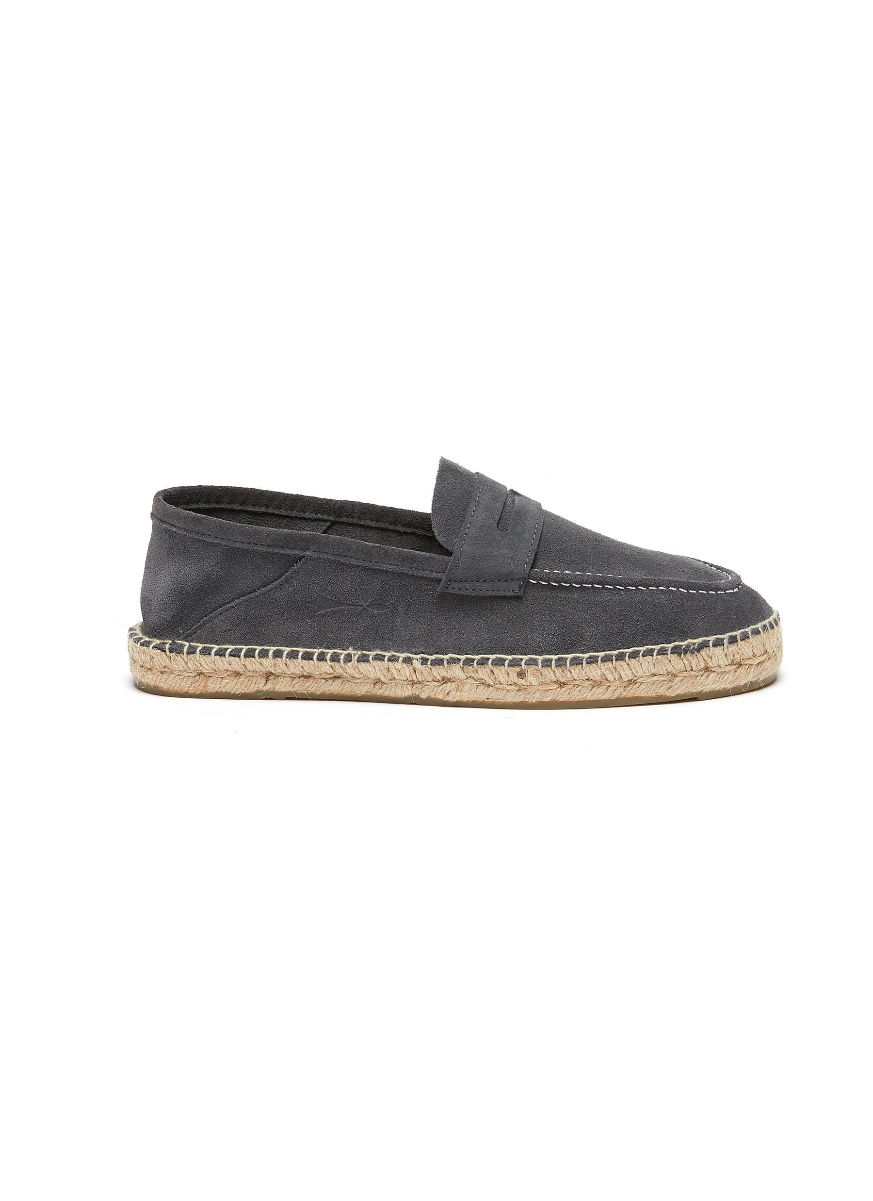 'Hamptons' Slip-on Canvas Espadrille Suede Penny Loafers