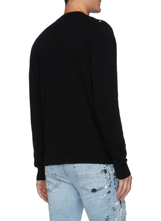 Back View - Click To Enlarge - AMIRI - Distressed Logo Crewneck Cashmere Knit Sweater