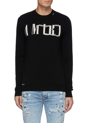 Main View - Click To Enlarge - AMIRI - Distressed Logo Crewneck Cashmere Knit Sweater