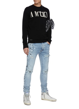 Figure View - Click To Enlarge - AMIRI - Distressed Logo Crewneck Cashmere Knit Sweater