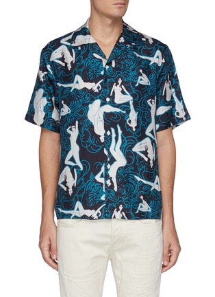 Main View - Click To Enlarge - AMIRI - All-over Graphic Print Short Sleeve silk Shirt
