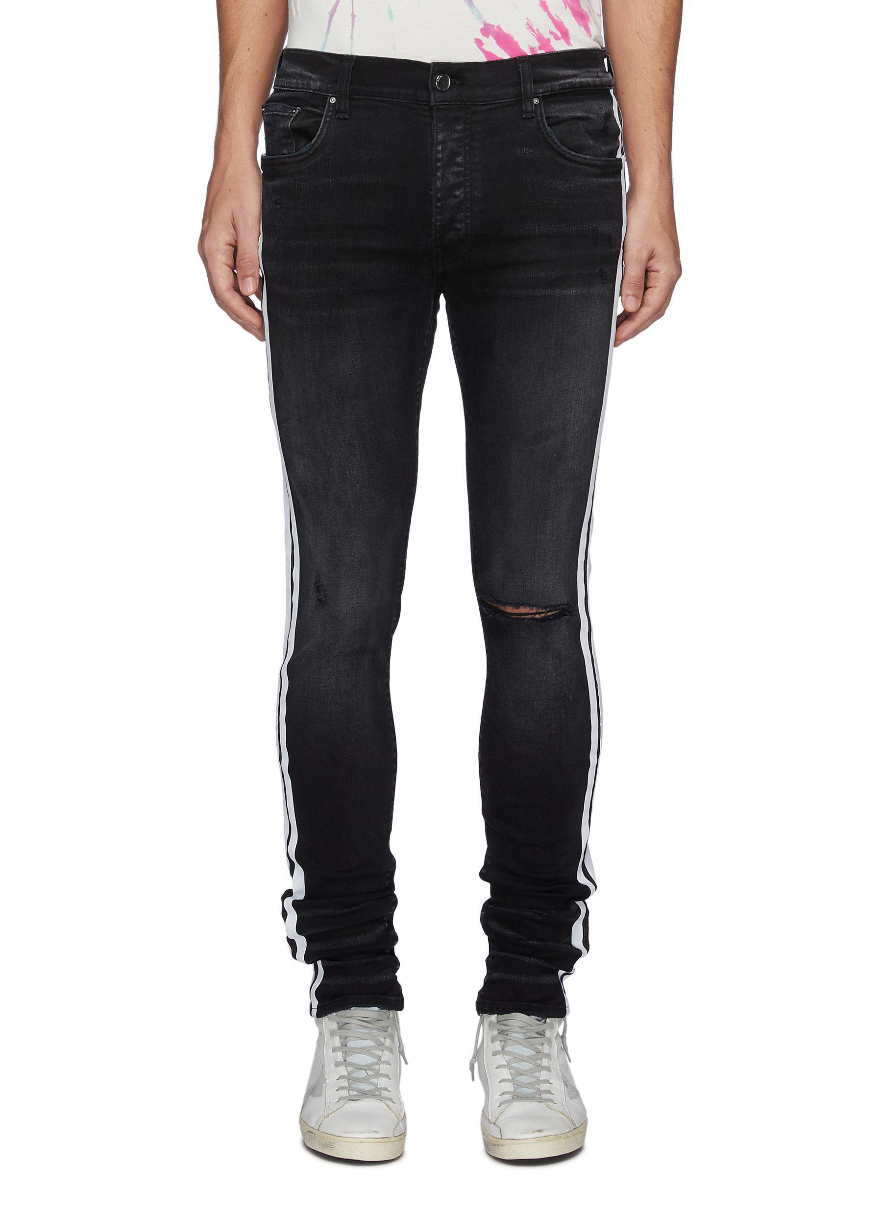 Worn Effect Side Stripe Slim Fit Jeans