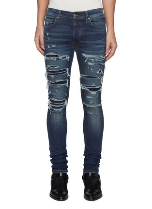 Main View - Click To Enlarge - AMIRI - Thrasher' Ripped Ribbed Panel Slim Fit Washed Biker Jeans