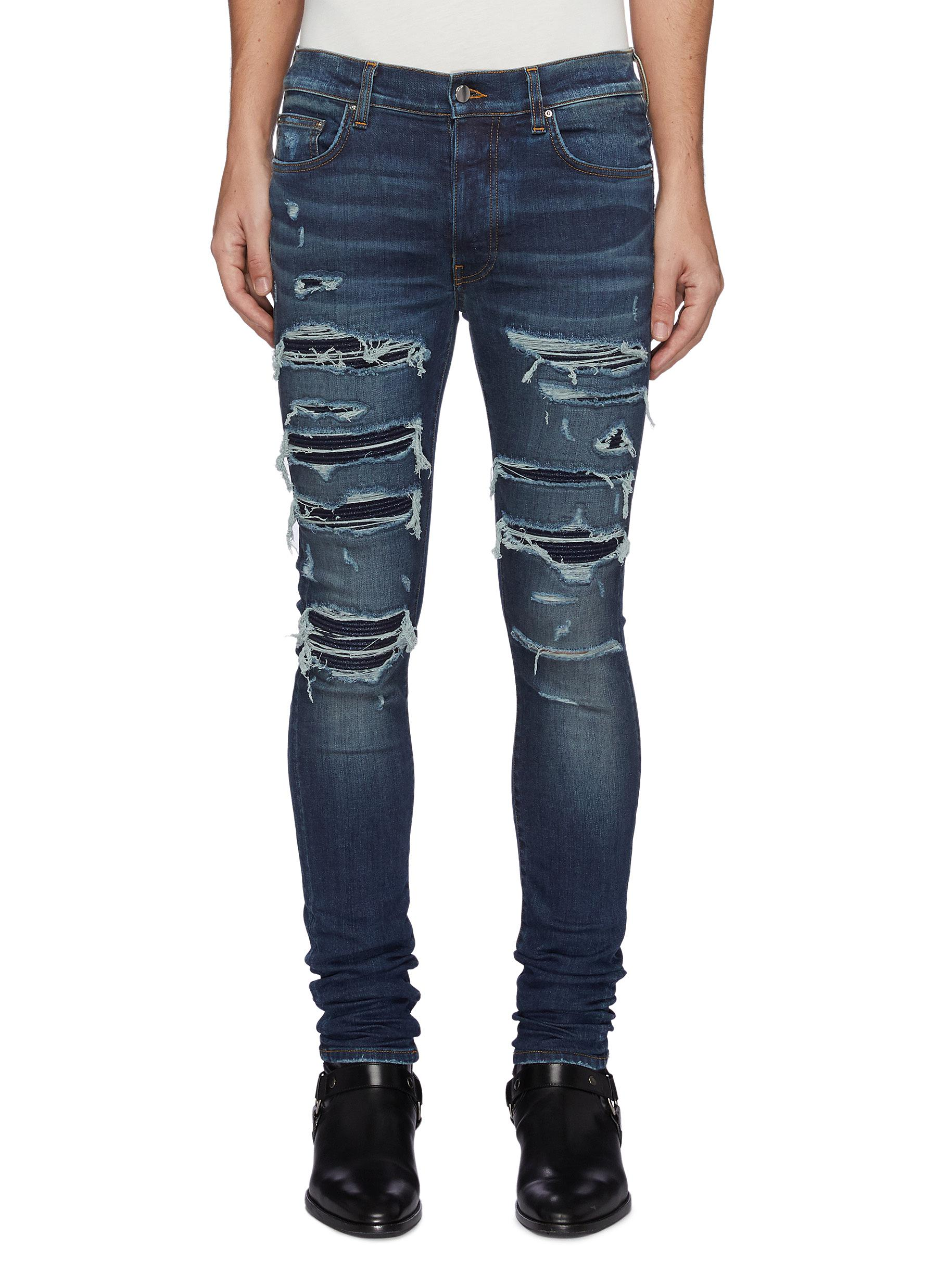Thrasher' Ripped Ribbed Panel Slim Fit Washed Biker Jeans