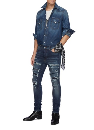 Figure View - Click To Enlarge - AMIRI - Thrasher' Ripped Ribbed Panel Slim Fit Washed Biker Jeans