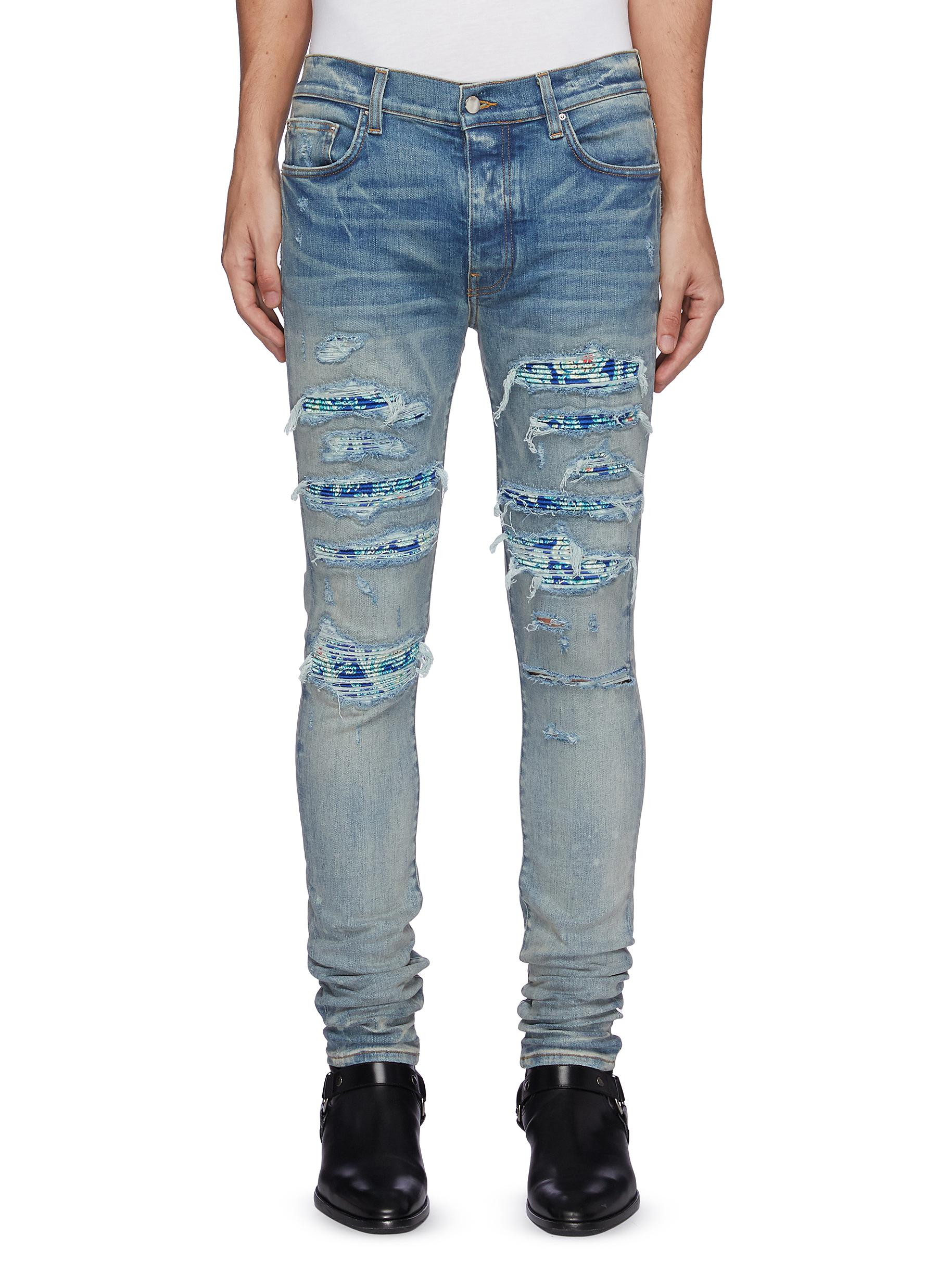 PJ Thrasher' Paisley Pleated Knee Patch Ripped Washed Skinny Jeans