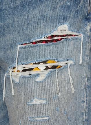 - AMIRI - Patchwork Ripped Light Washed Denim Shorts