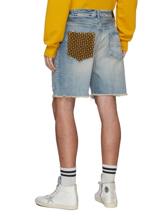 Back View - Click To Enlarge - AMIRI - Patchwork Ripped Light Washed Denim Shorts