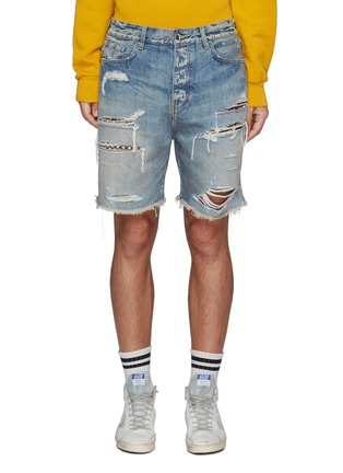 Main View - Click To Enlarge - AMIRI - Patchwork Ripped Light Washed Denim Shorts