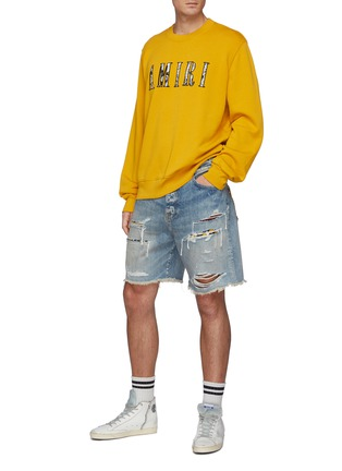 Figure View - Click To Enlarge - AMIRI - Patchwork Ripped Light Washed Denim Shorts