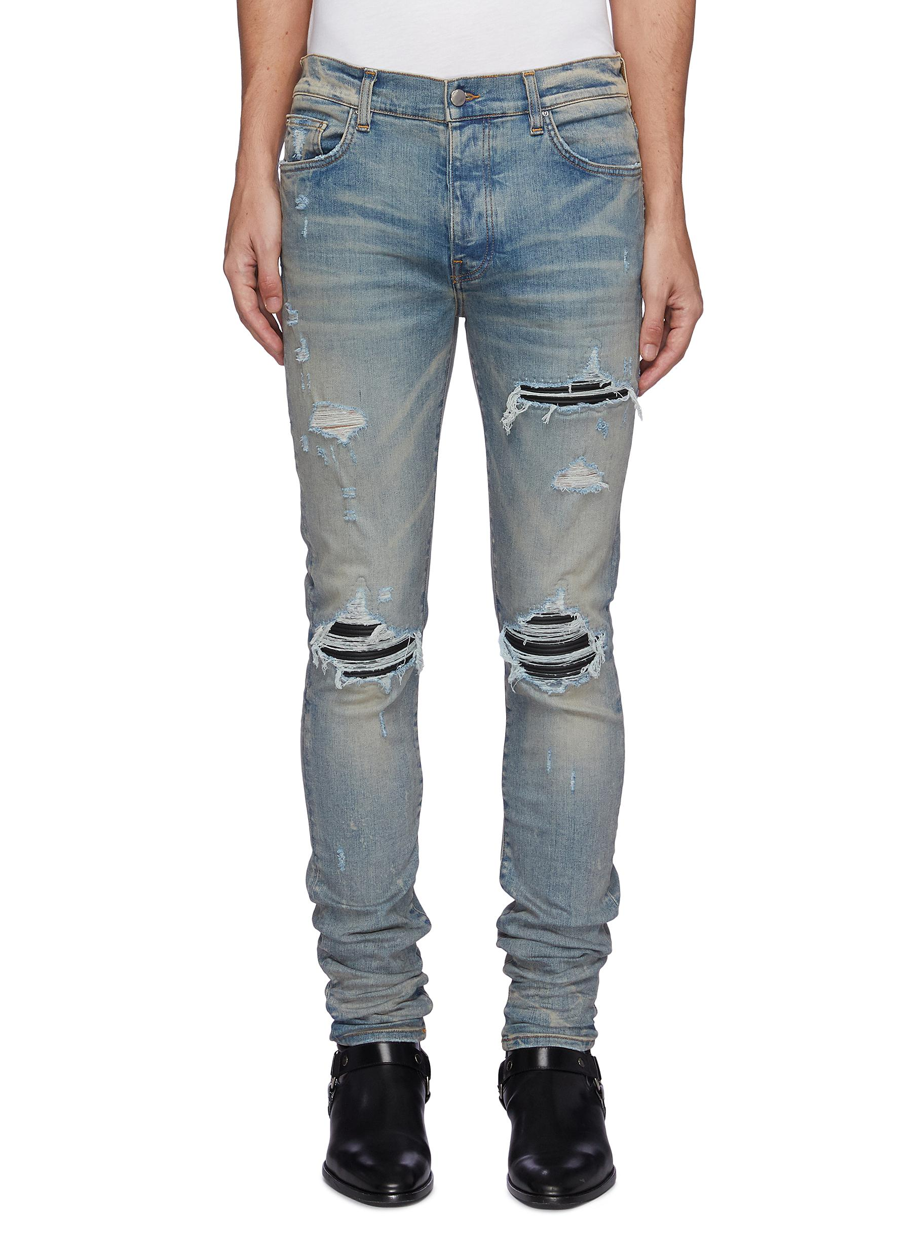 MX1' Ribbed Leather Knee Patch Ripped Washed Skinny Jeans