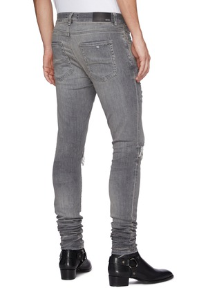 Back View - Click To Enlarge - AMIRI - Playboy Ribbed Leather Panel Ripped Washed Jeans