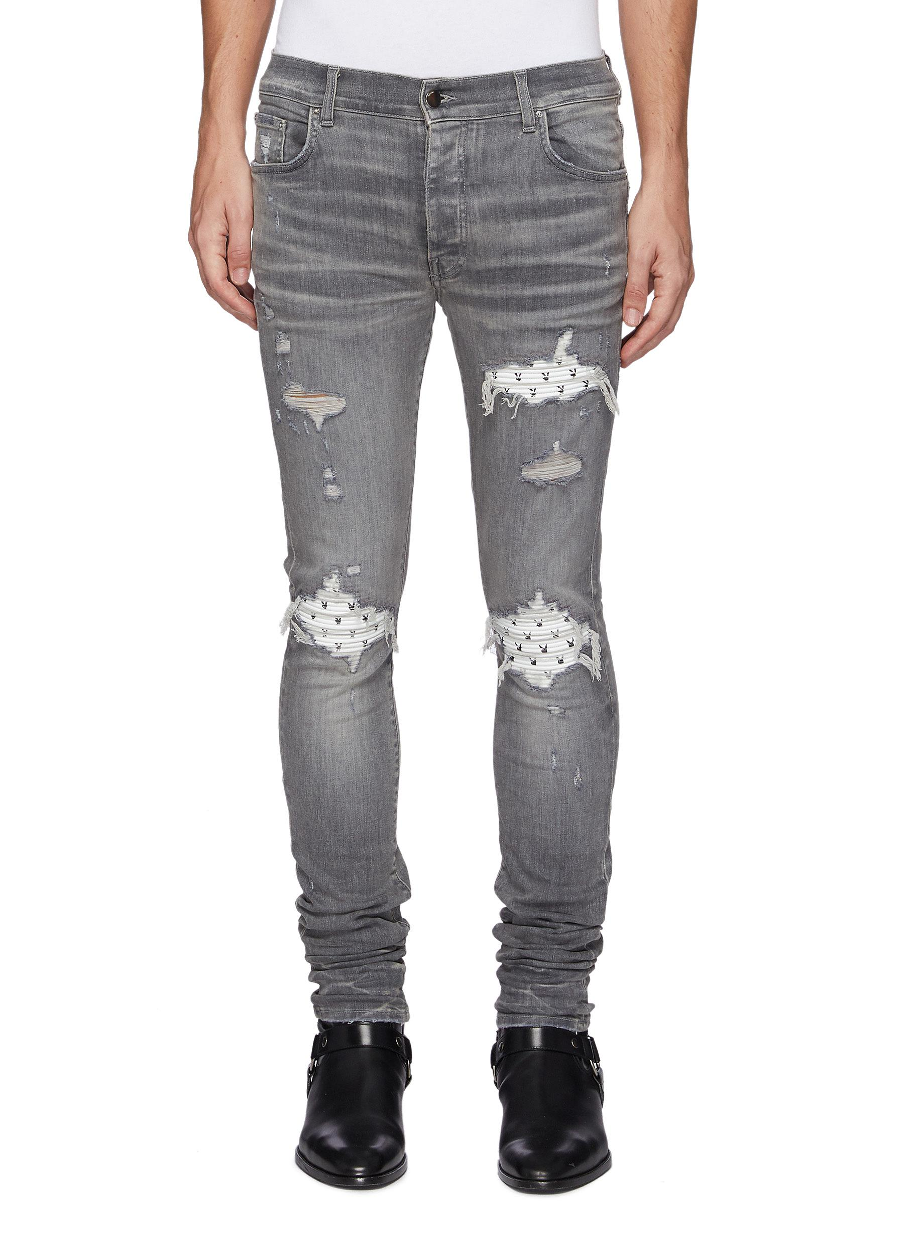 Playboy Ribbed Leather Panel Ripped Washed Jeans