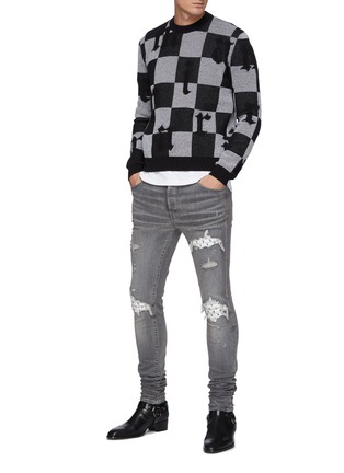 Figure View - Click To Enlarge - AMIRI - Playboy Ribbed Leather Panel Ripped Washed Jeans
