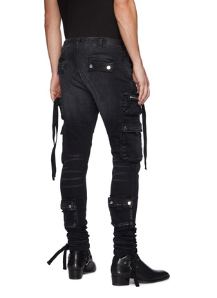 Back View - Click To Enlarge - AMIRI - Strap Adorned Cargo Washed Black Jeans