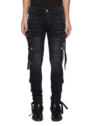 Main View - Click To Enlarge - AMIRI - Strap Adorned Cargo Washed Black Jeans