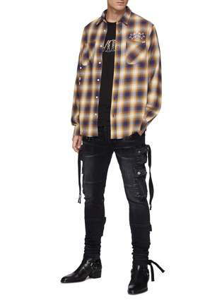 Figure View - Click To Enlarge - AMIRI - Strap Adorned Cargo Washed Black Jeans