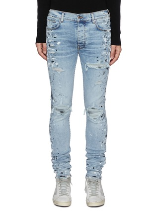 Main View - Click To Enlarge - AMIRI - MX1' Spray Paint Distressed Washed Slim Fit Jeans