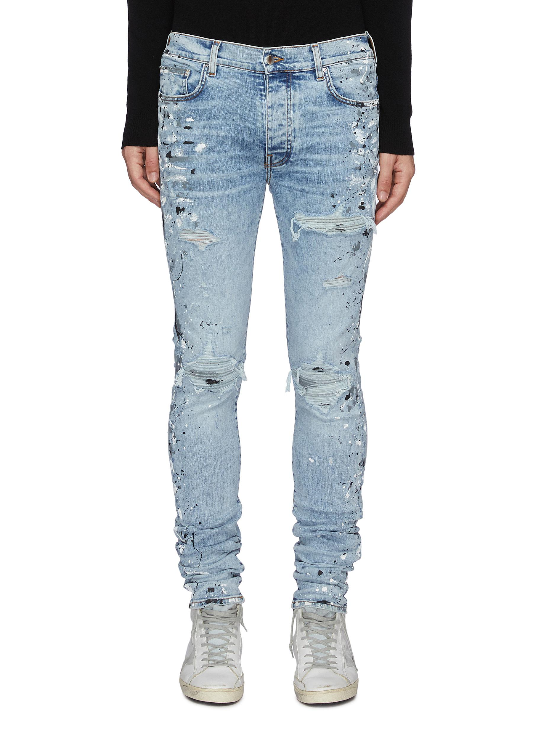 MX1' Spray Paint Distressed Washed Slim Fit Jeans