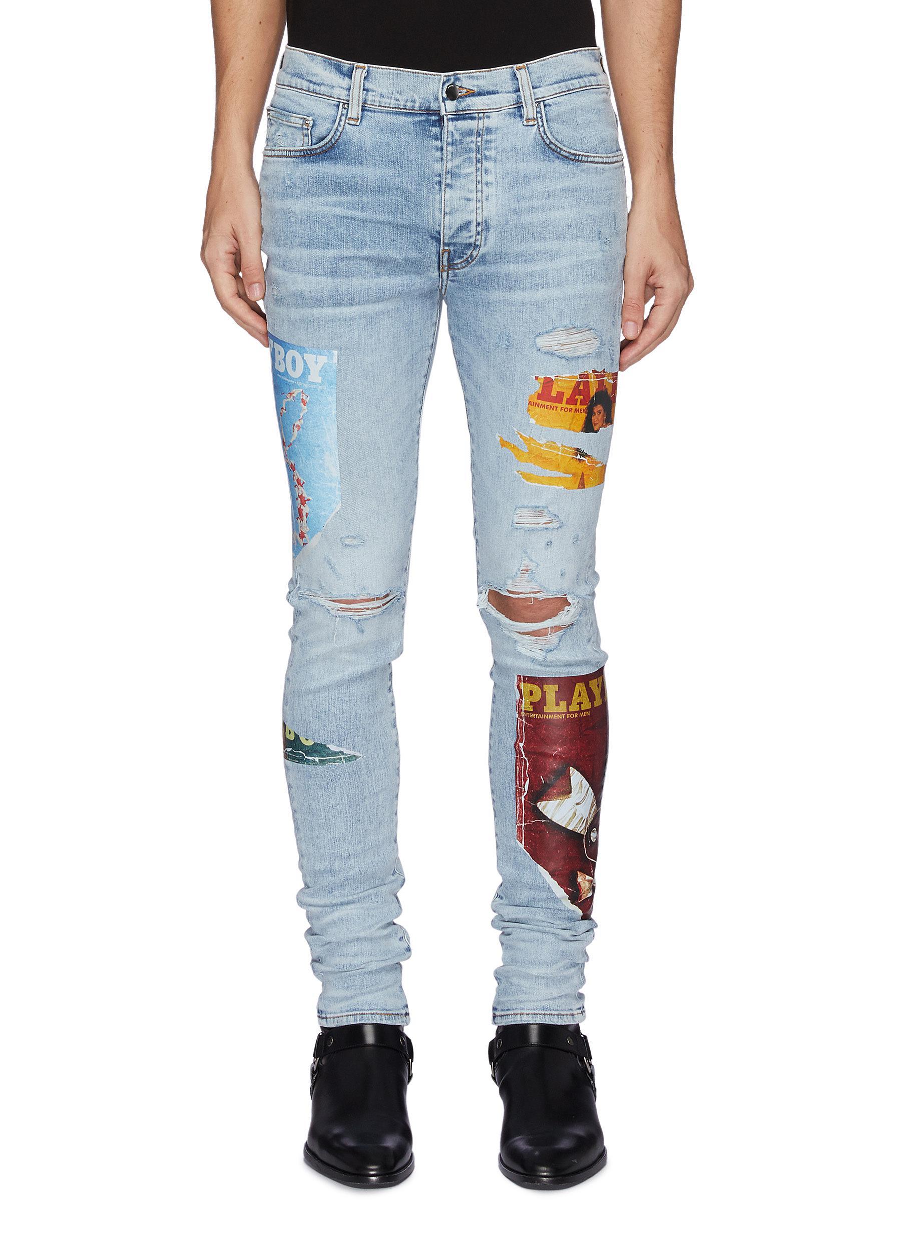 Playboy Magazine Distress Detail Slim Jeans