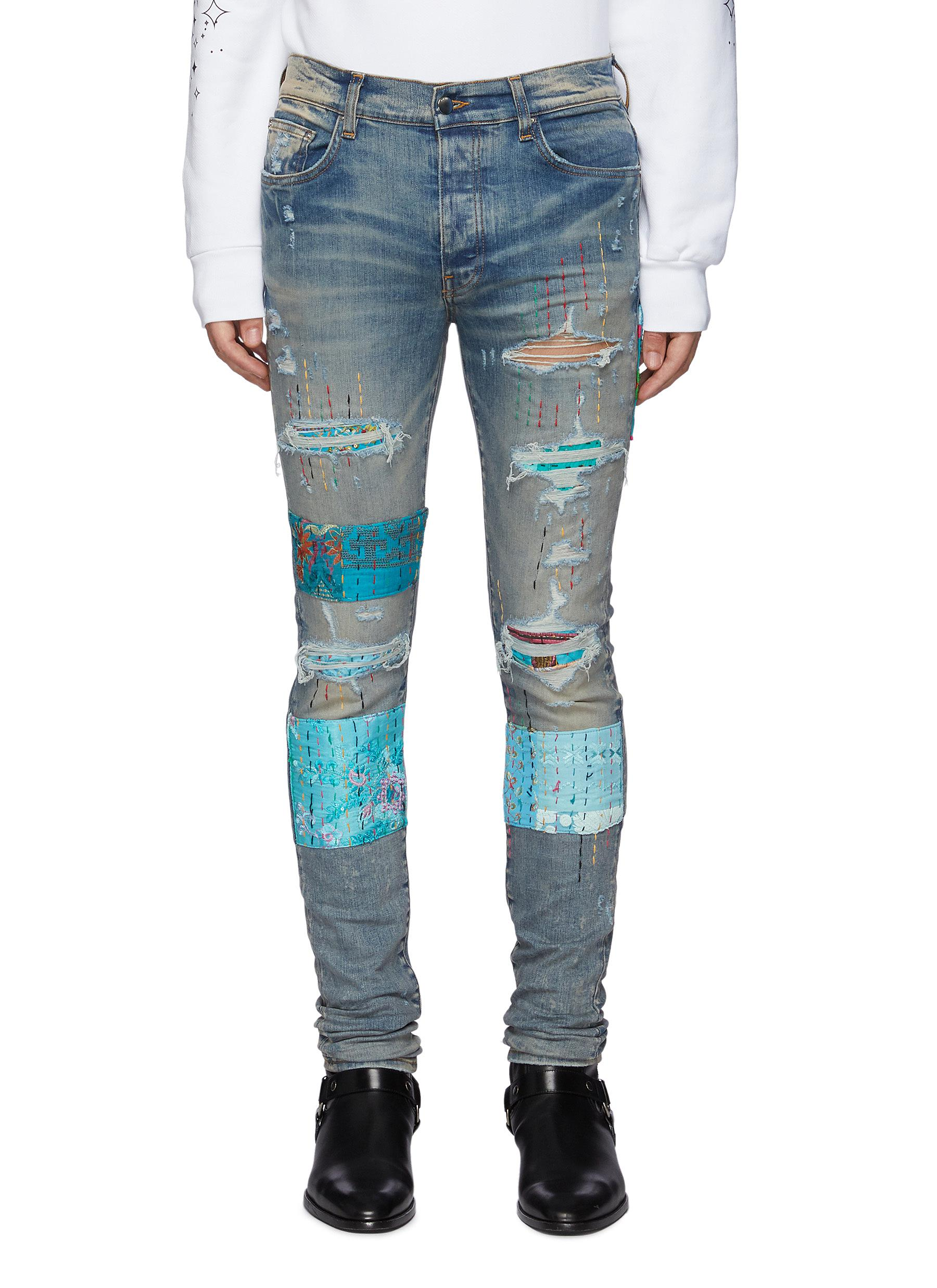 Quilted Patch Ripped Washed Skinny Jeans