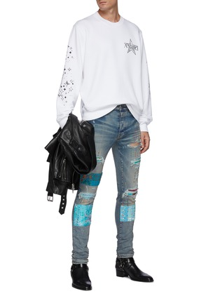 Figure View - Click To Enlarge - AMIRI - Quilted Patch Ripped Washed Skinny Jeans