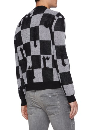 Back View - Click To Enlarge - AMIRI - Logo Chequered Cashmere Knit Crewneck Jumper