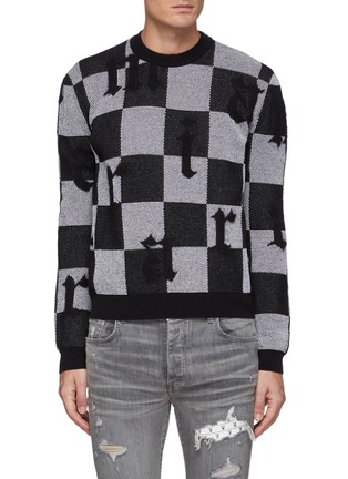 Main View - Click To Enlarge - AMIRI - Logo Chequered Cashmere Knit Crewneck Jumper
