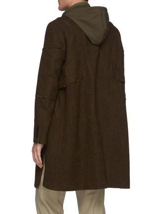 Back View - Click To Enlarge - SACAI - Panelled Herringbone Hooded Coat
