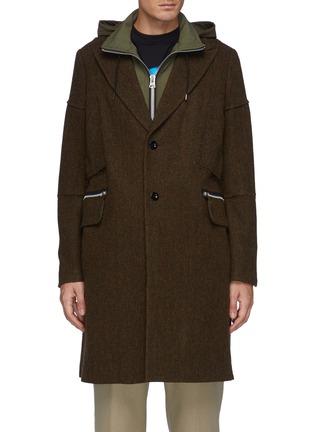 Main View - Click To Enlarge - SACAI - Panelled Herringbone Hooded Coat