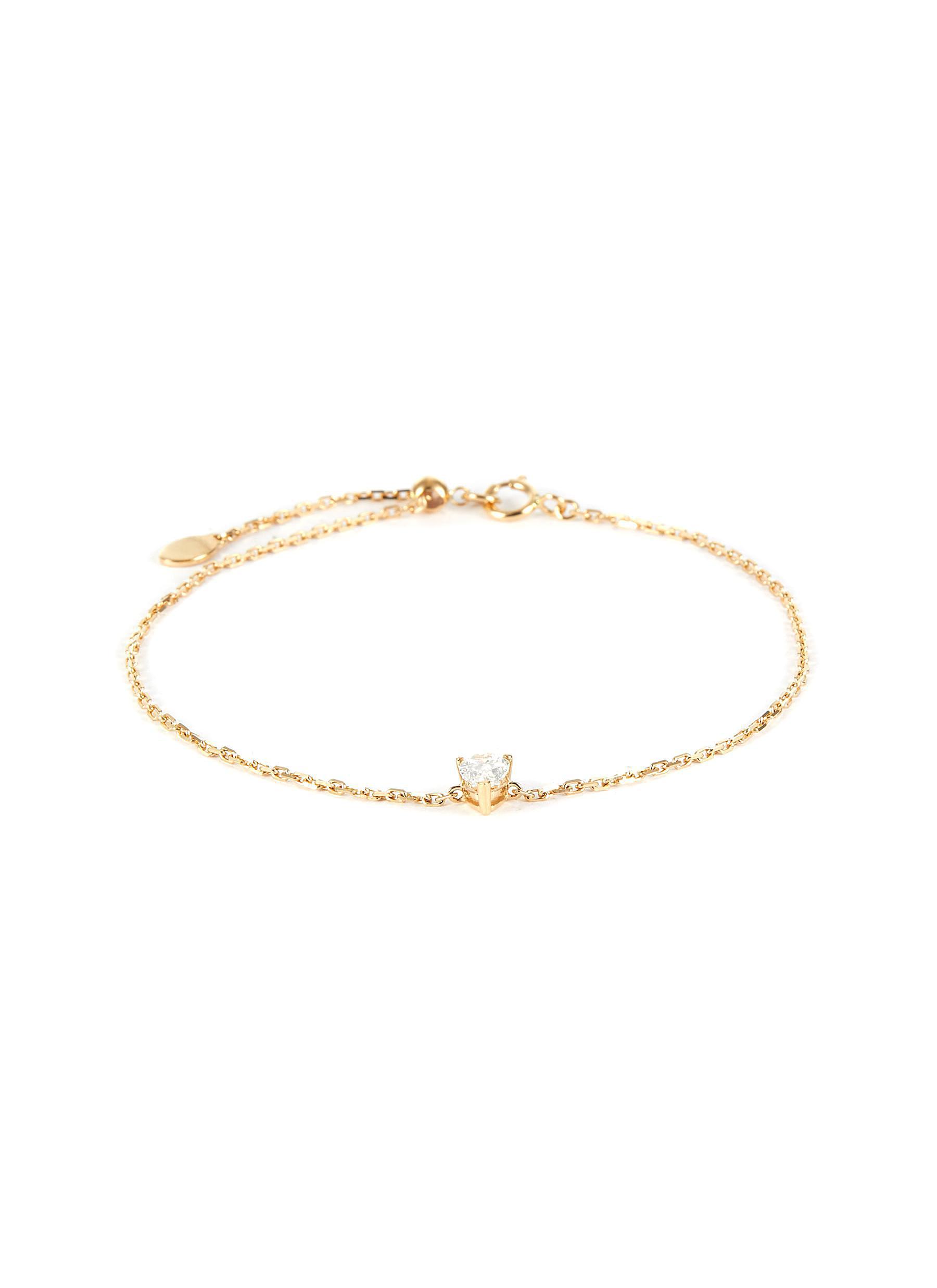 'Simone' lab grown diamond 18k gold charm bracelet