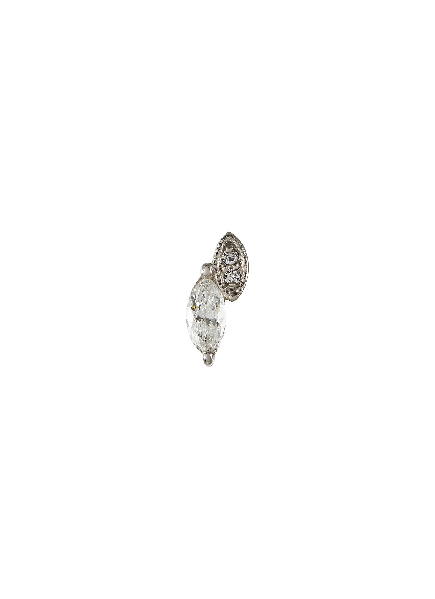 'Abelia' lab grown diamond 9k white gold stud earring