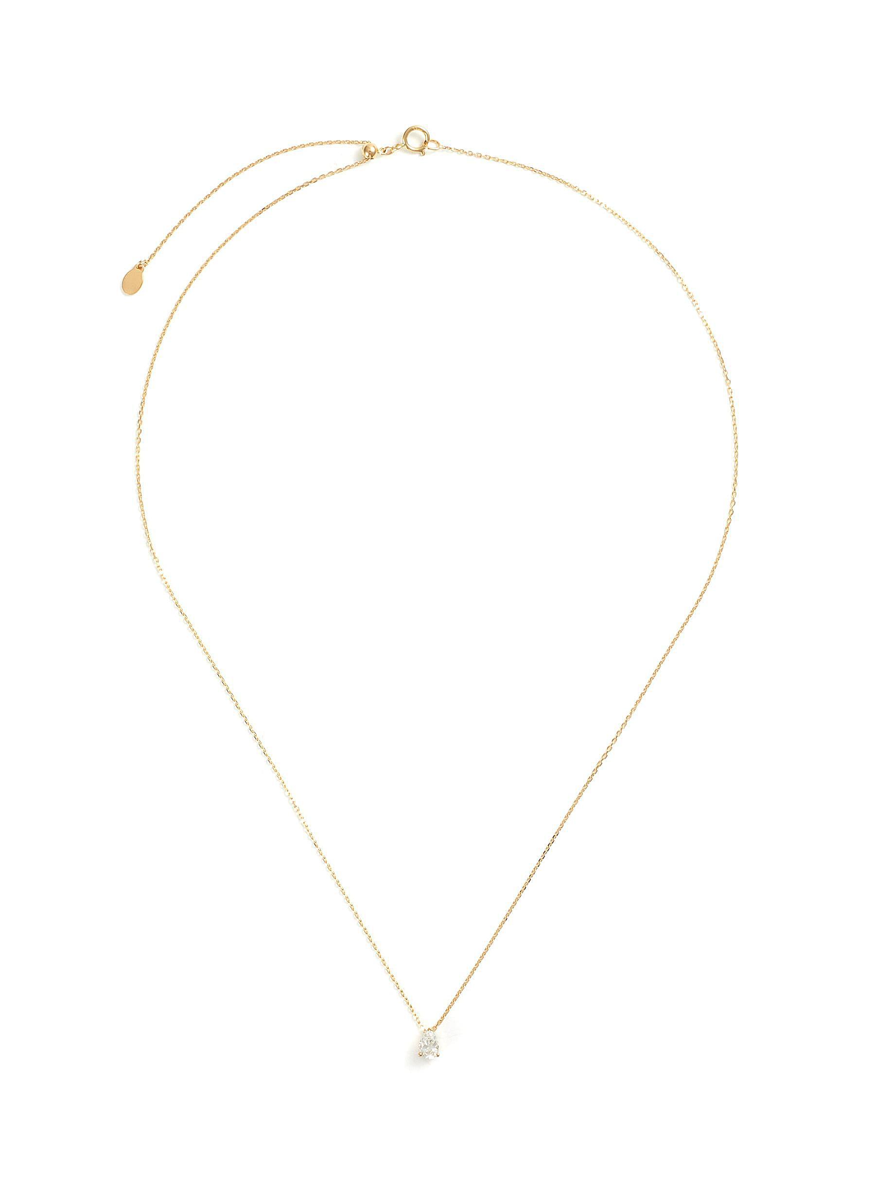 'Simone' lab grown diamond 18k gold pendant necklace