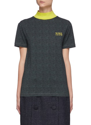 Main View - Click To Enlarge - NINA RICCI - Houndstooth Jersey High Neck Top