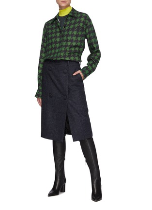 Figure View - Click To Enlarge - NINA RICCI - Houndstooth Jersey High Neck Top