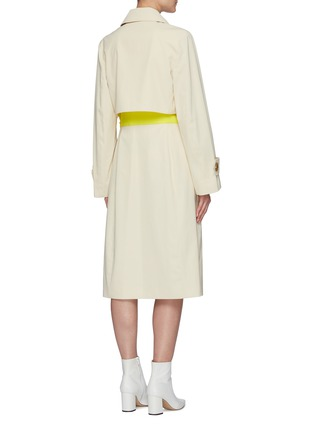 Back View - Click To Enlarge - NINA RICCI - Contrast Waist Panel Double-breast Trench Coat