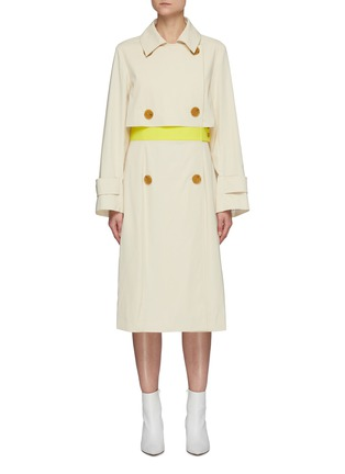 Main View - Click To Enlarge - NINA RICCI - Contrast Waist Panel Double-breast Trench Coat