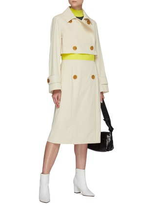 Figure View - Click To Enlarge - NINA RICCI - Contrast Waist Panel Double-breast Trench Coat