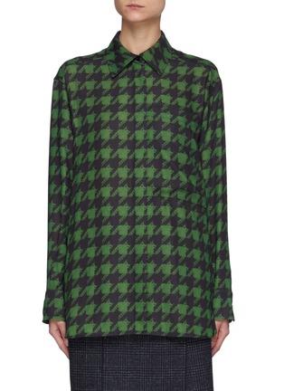 Main View - Click To Enlarge - NINA RICCI - Oversizerd Houndstooth Print Shirt