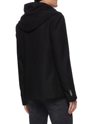 Back View - Click To Enlarge - BALMAIN - Hood Lapel Double-breast Wool Blend Peacoat