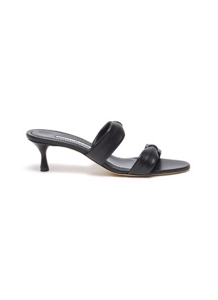 Main View - Click To Enlarge - MANOLO BLAHNIK - Pallera' Double Band Leather Heel Sandals