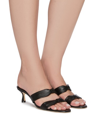 Figure View - Click To Enlarge - MANOLO BLAHNIK - Pallera' Double Band Leather Heel Sandals