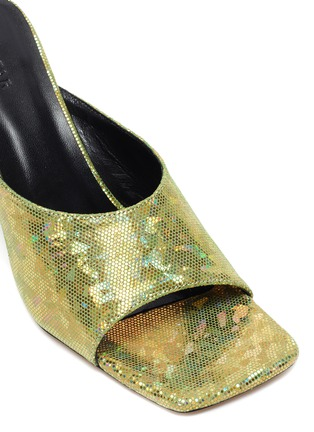 Detail View - Click To Enlarge - BY FAR - Zaya' Holographic Leather Square Toe Heeled Sandals